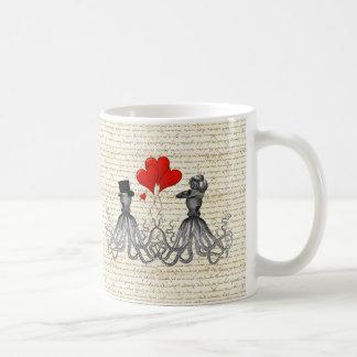 Pulpos y corazones del vintage taza de café