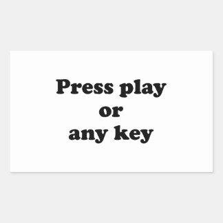 Pulse el juego o cualquier tecla pegatina rectangular