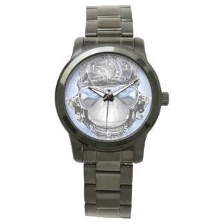 Pulsera negra de parachoques unisex relojes