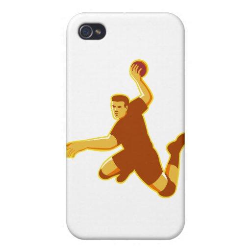 pulso de salto del jugador del balonmano retro iPhone 4 cárcasa