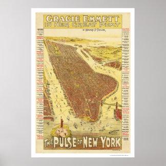 Pulso del mapa 1891 de Nueva York Poster