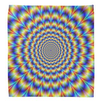 Pulso psicodélico del pañuelo en azul y amarillo bandana