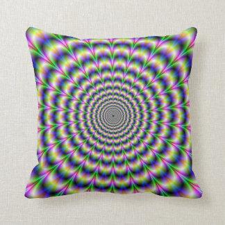 Pulso psicodélico en almohadas púrpuras y verdes