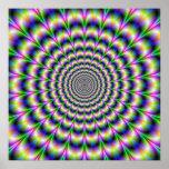 Pulso psicodélico en poster púrpura y verde