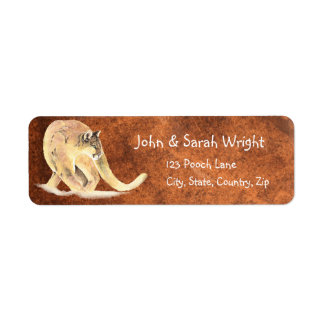 Puma de la acuarela, puma, dirección del león de etiquetas de remite