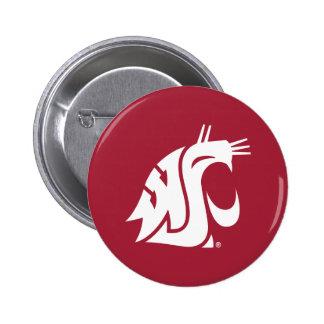 Puma del estado de Washington - blanco Pin Redondo 5 Cm