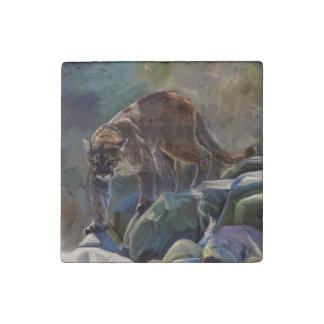 Puma del gato grande, retrato 1 de la foto de la imán de piedra
