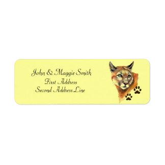 Puma, Mountain Lion, Cougar Tracks Address Label