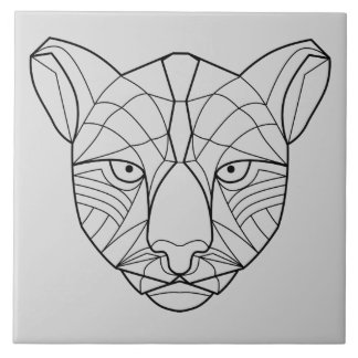 Puma negro hermoso del esquema azulejo cuadrado grande