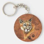 Puma, puma, pistas del animal del león de montaña llaveros personalizados