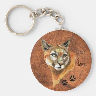 Puma, puma, pistas del animal del león de montaña llavero redondo tipo pin