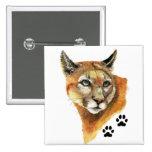 Puma, puma, pistas del animal del león de montaña pin cuadrado