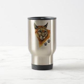 Puma, puma, pistas del animal del león de montaña taza