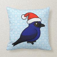 Purple Martin Christmas Cotton Throw Pillow