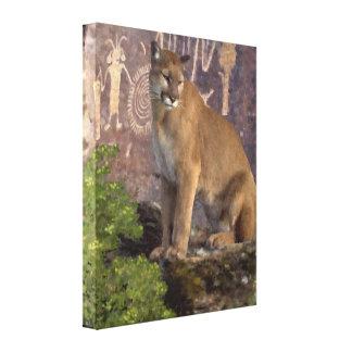 Puma y los pictogramas impresion de lienzo