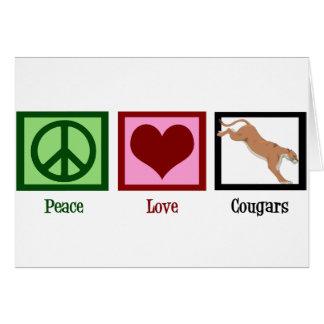 Pumas del amor de la paz tarjeta de felicitación
