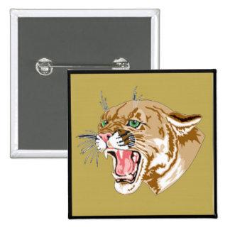 Pumas salvajes de Junglewalk..com Pin Cuadrada 5 Cm