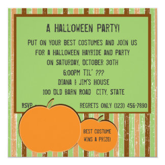 Pumkin and Stripes Custom Invite