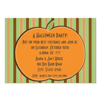 Pumkin and Stripes Personalized Invitations