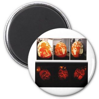 Pumkin House Day and Night 2 Inch Round Magnet