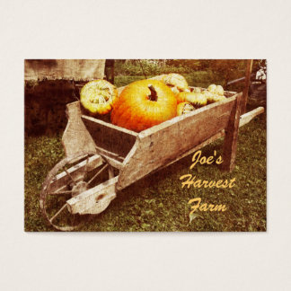 Pumkins in a wheelbarrow harvest farm businesscard business card