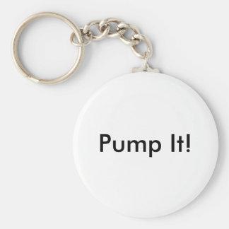 Pump It! Basic Round Button Keychain