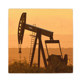 Pump Jack Pumping Oil In West Texas, USA Wood Coaster