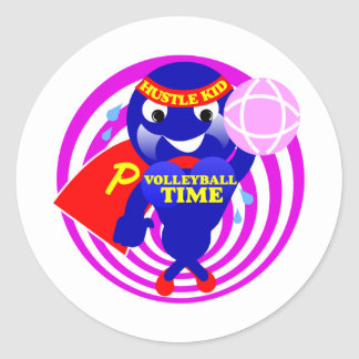 Pump Time Volleyball Time Classic Round Sticker