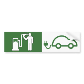 Pump vs Plug Suicide by Petrol Green Car Bumper Sticker
