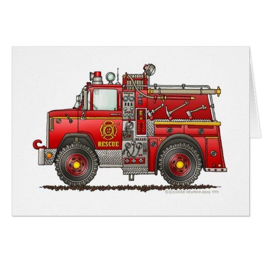 Pumper Rescue Fire Truck Firefighter Card
