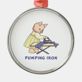 Pumping Iron Round Metal Christmas Ornament