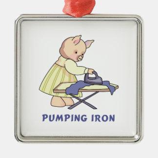 Pumping Iron Square Metal Christmas Ornament