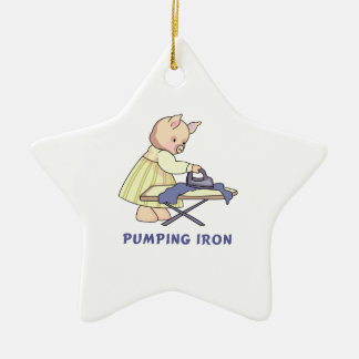 Pumping Iron Double-Sided Star Ceramic Christmas Ornament