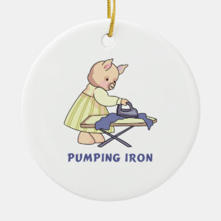 Pumping Iron Double-Sided Ceramic Round Christmas Ornament