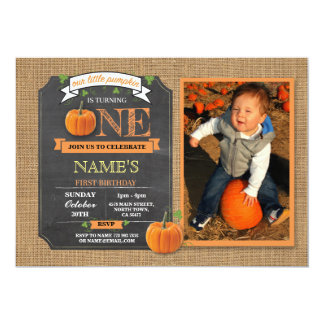 Pumpkin 1st First One Birthday Party Photo Invite