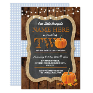 Pumpkin 2nd Birthday Party TWO Blue Invite