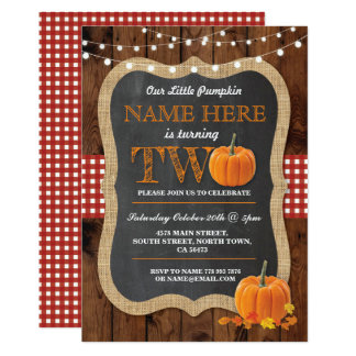 Pumpkin 2nd Birthday Party TWO Fall Invite