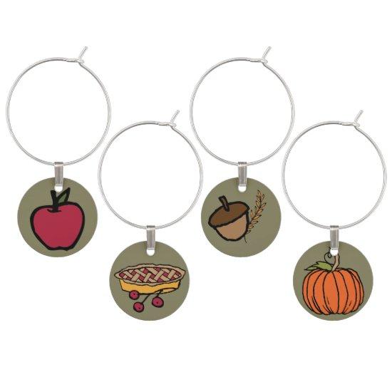 Pumpkin, Acorn, Apple, Thanksgiving Wine Charm
