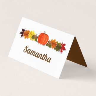 Pumpkin, acorns and fall leaves Thanksgiving Place Card