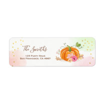 Pumpkin Address Labels Fall Autumn Gold Pink
