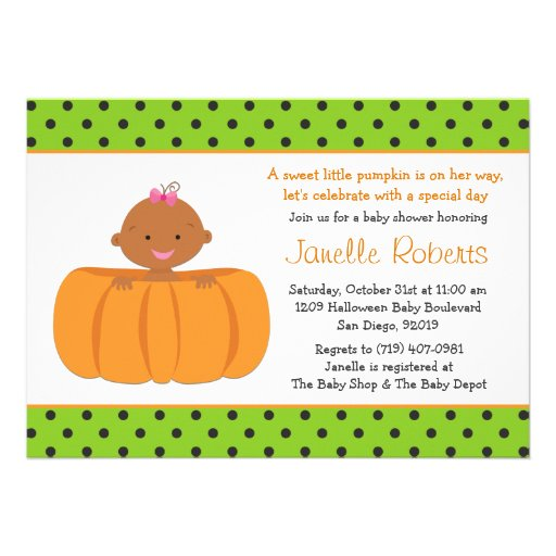 Pumpkin African American Baby Girl Shower Invite