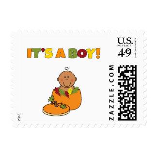 Pumpkin African American baby shower It's a boy Postage