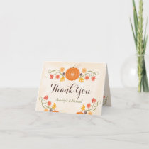 Pumpkin and Acorn Floral Fall Wedding Thank You
