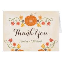 Pumpkin and Acorn Floral Fall Wedding Thank You