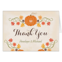 Pumpkin and Acorn Floral Fall Wedding Thank You Card