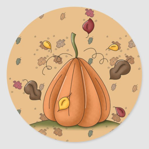 pumpkin and autumn leaves classic round sticker