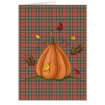 pumpkin and autumn leaves greeting card