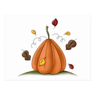 pumpkin and autumn leaves postcard