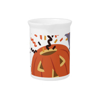 Pumpkin And Bats Drink Pitcher
