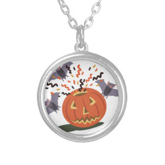 Pumpkin And Bats Silver Plated Necklace
